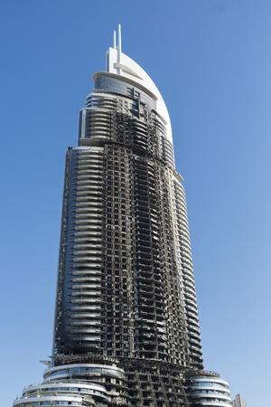 31st: Five stars Dubai hotel fire: Inferno at 63-storey Address Downtown hotel near Burj Khalifa on the 31st December 2016. UAE