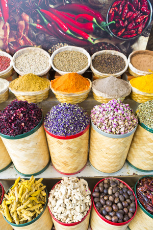 souk: Arabic Spices and dried fruits at the market Souk Madinat Jumeirah in Dubai, UAE Stock Photo