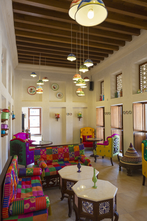 traditional living room: Traditional Arabic place for relax, interior and living room with authentic decoration and colorful armchair in Dubai. United Arab Emirates in 2016. Editorial