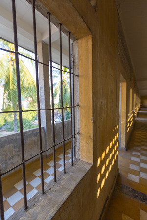 tortured: Interior of a cell at Tuol Sleng prison in Phnom Penh, Cambodia. This building was a concentration camp during the Cambodian genocide under the Khmer Rouge