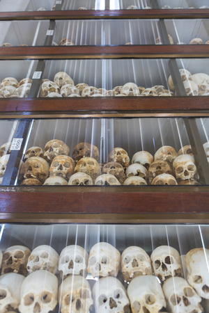 killing: Group of skulls and bones found in various Killing fields during the genocide by Pol Pot, Phnom Penh, Cambodia
