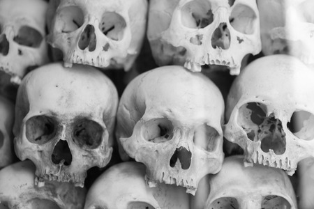 Group of skulls and bones found in various Killing fields during the genocide by Pol Pot, Phnom Penh, Cambodia