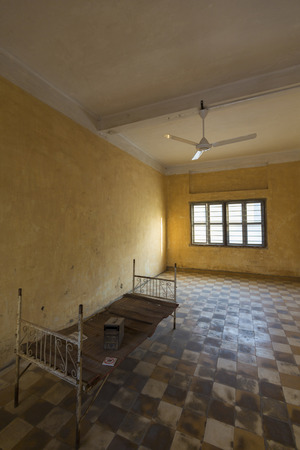 war crimes: Interior of a cell at Tuol Sleng prison in Phnom Penh, Cambodia. This building was a concentration camp during the Cambodian genocide under the Khmer Rouge