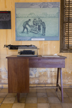war crimes: PHNOM PENH, CAMBODIA - JANUARY 28: Interior of Tuol Sleng prison in Phnom Penh, Cambodia. This building was a concentration camp during the Cambodian genocide under the Khmer Rouge. 2016 Editorial