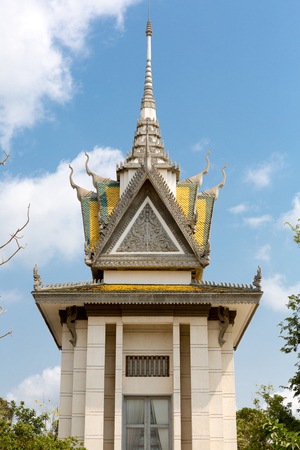 penh: Exterior of the skull Pagoda at The Killing Fields of Choeung Ek in Phnom Penh, Cambodia