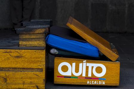 shoe box: Old retro vintage shine empty shoe box seat with sticker on it Quito, Ecuador Stock Photo