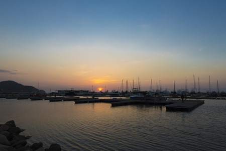 marta: Marina and boats During the sunset in Santa Marta, Colombia 2015