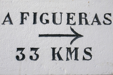 Directional roadsign to Figueras located at 33 km painted on white wall with black arrow. Catalonia, Spain. Stock Photo