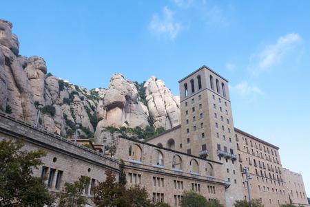 Montserrat Monastery, Santa Maria de Montserrat is a Benedictine abbey located on the mountain of Montserrat nearby from Barcelona. Catalonia. Spain