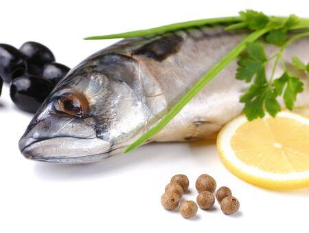Fresh mackerel with olives and lemons isolated over white background Stock Photo - 8680902