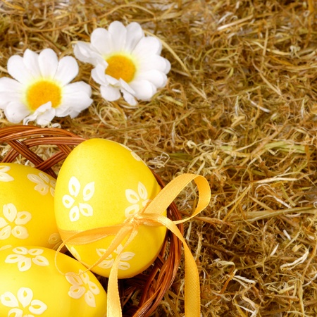 Yellow easter eggs in the basket over hay background photo