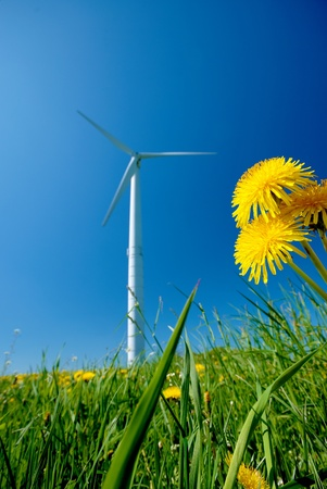 White electric wind turbine under clear blue sky Stock Photo - 8681039