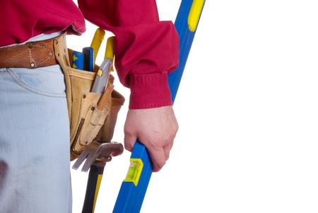 Carpenter tool belt closeup with copy-space Stock Photo - 9157527