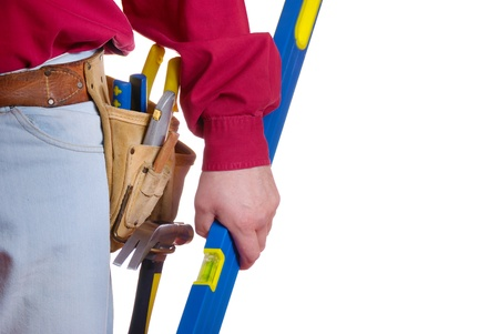 home improvements: Carpenter tool belt closeup with copy-space