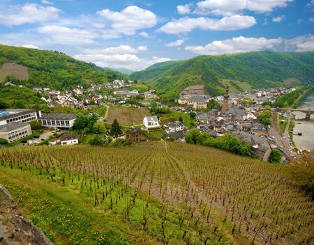 feudal: Cochem city panorama. View from Reichsburg Castle Stock Photo