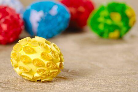 Easter eggs over golden background
