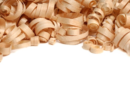 Wood chips over the white background Stock Photo - 9157798