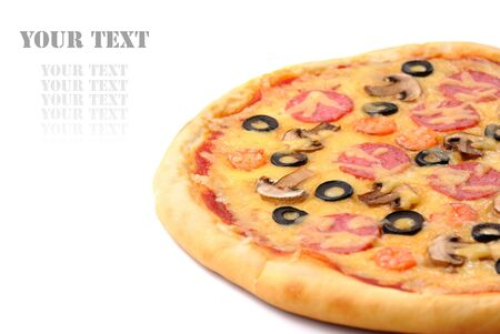 Pepperoni pizza with mushrooms, shrimps and olives over white background photo