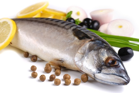 Fresh mackerel with olives and onions over white background Stock Photo - 9290868