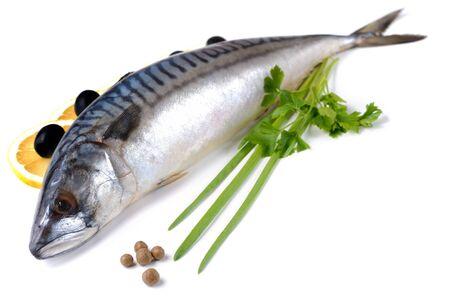 Fresh mackerel with olives and lemons isolated over white background Stock Photo