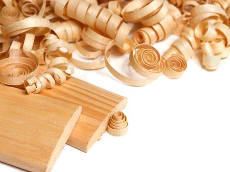 Wooden chips and planks over white background Stock Photo - 9290853
