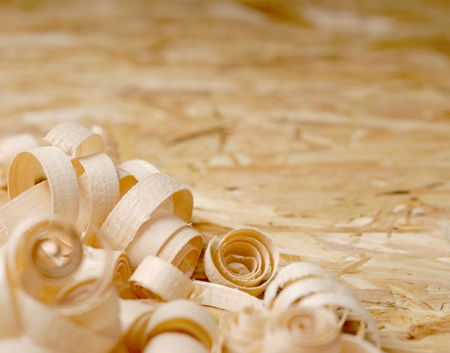 shavings: Sawdust on the plywood background