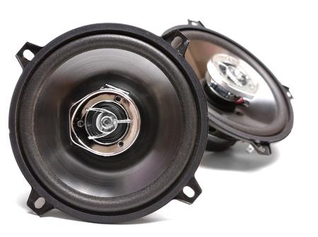 equipo de sonido: Altavoces de coche coaxial aislados en blanco