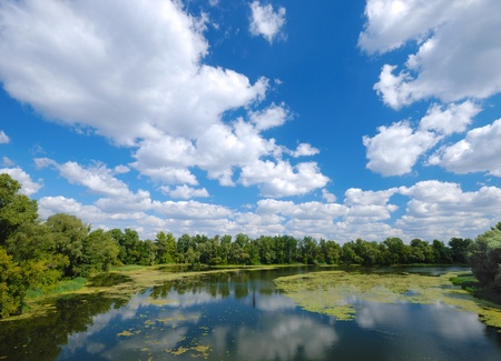 River under blue cloudy sky panorama photo