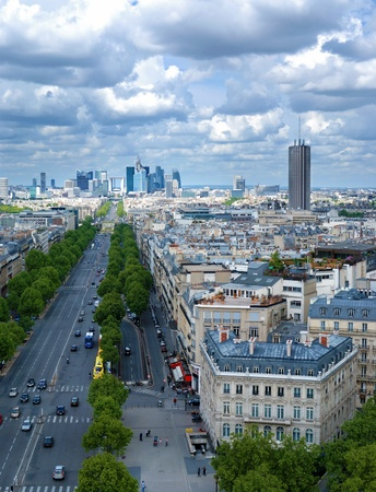 triomphe: Morning view from Arc de Triomphe at Paris  business district Defense Stock Photo