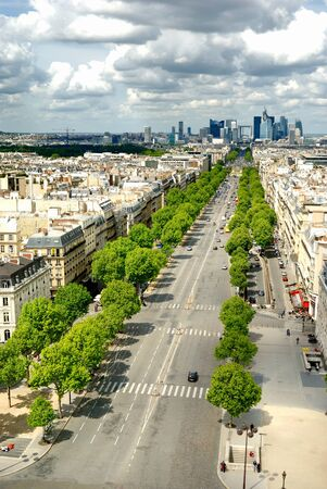 avenue: Morning view from Arc de Triomphe at Paris  business district Defense Stock Photo