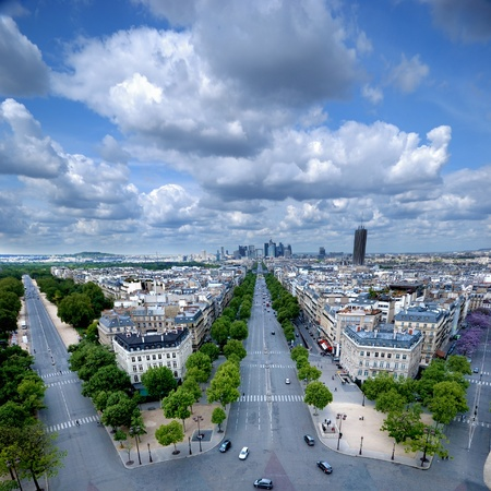 Morning view from Arc de Triomphe at Paris  business district Defense photo