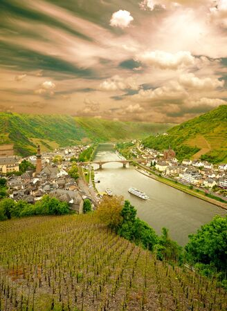 Sunset at Cochem city, Germany. View from Reichsburg Castle.