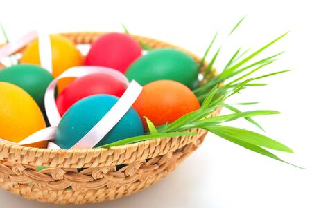 boiled eggs: Easter basket over uniform background Stock Photo