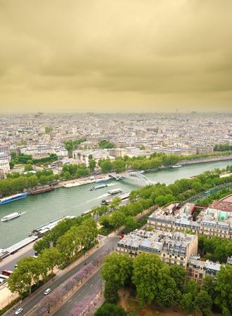 seine: Luchtfoto uitzicht op de Seine van de Eiffeltoren, Frankrijk Parijs