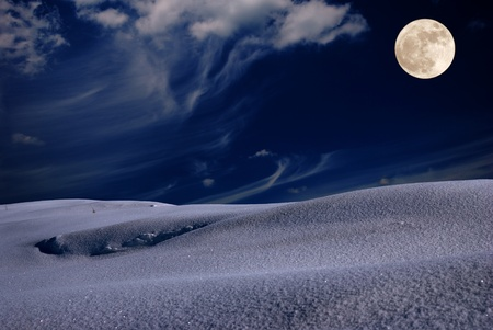 Frosty winter night with fool moon in the sky Stock Photo - 9558958