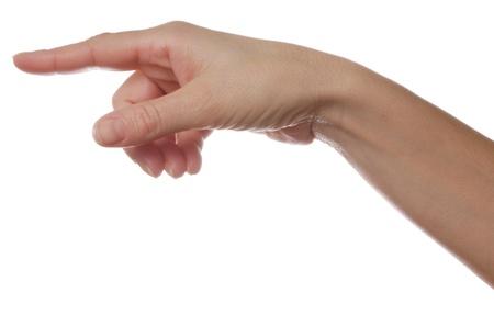 Female pointing finger isolated on white background