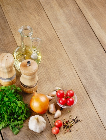 Food ingredients on the kitchen table closeup shot Stock Photo