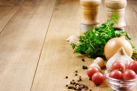 Food ingredients on the oak table closeup shot Stock Photo - 9997244
