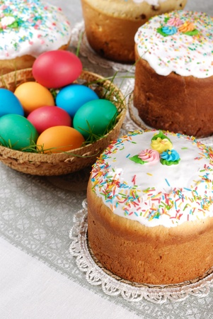 Easter eggs and cake on the table photo