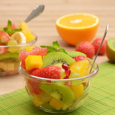 fruit salad: Healthy fruit salad in the glass bowl Stock Photo