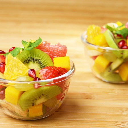 Fruit mix in the glass bowl photo