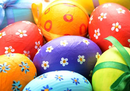 Painted easter eggs with bows background Stock Photo - 13639770