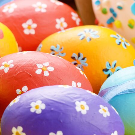 Painted easter eggs with bows background Stock Photo - 14158610