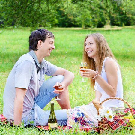 Young happy couple with wineglasses having fun at picnic outdoors photo