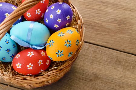 Easter basket with decorated eggs photo