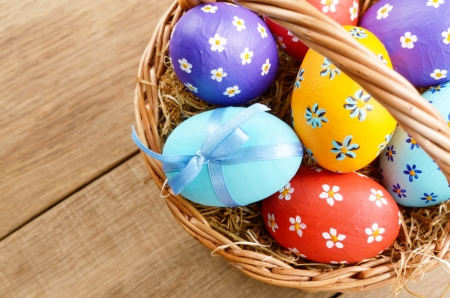 easter basket: Easter basket with decorated eggs
