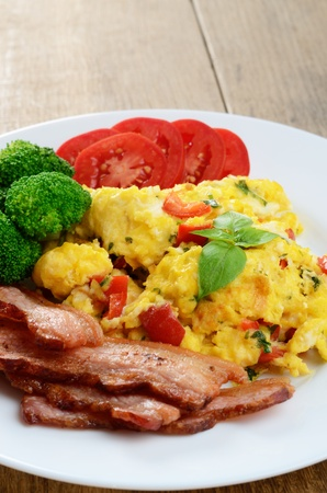 Omelette with fried bacon on the white plate Stock Photo - 16241043