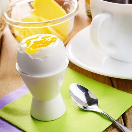 Breakfast of boiled egg, coffee, croissant, and butter Stock Photo - 16241068