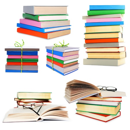 Stack of different color books isolated on white collage photo