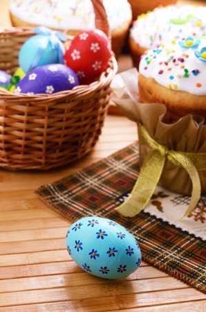 Easter decorations - eggs, cake and basket on the tabletop Stock Photo - 16945600